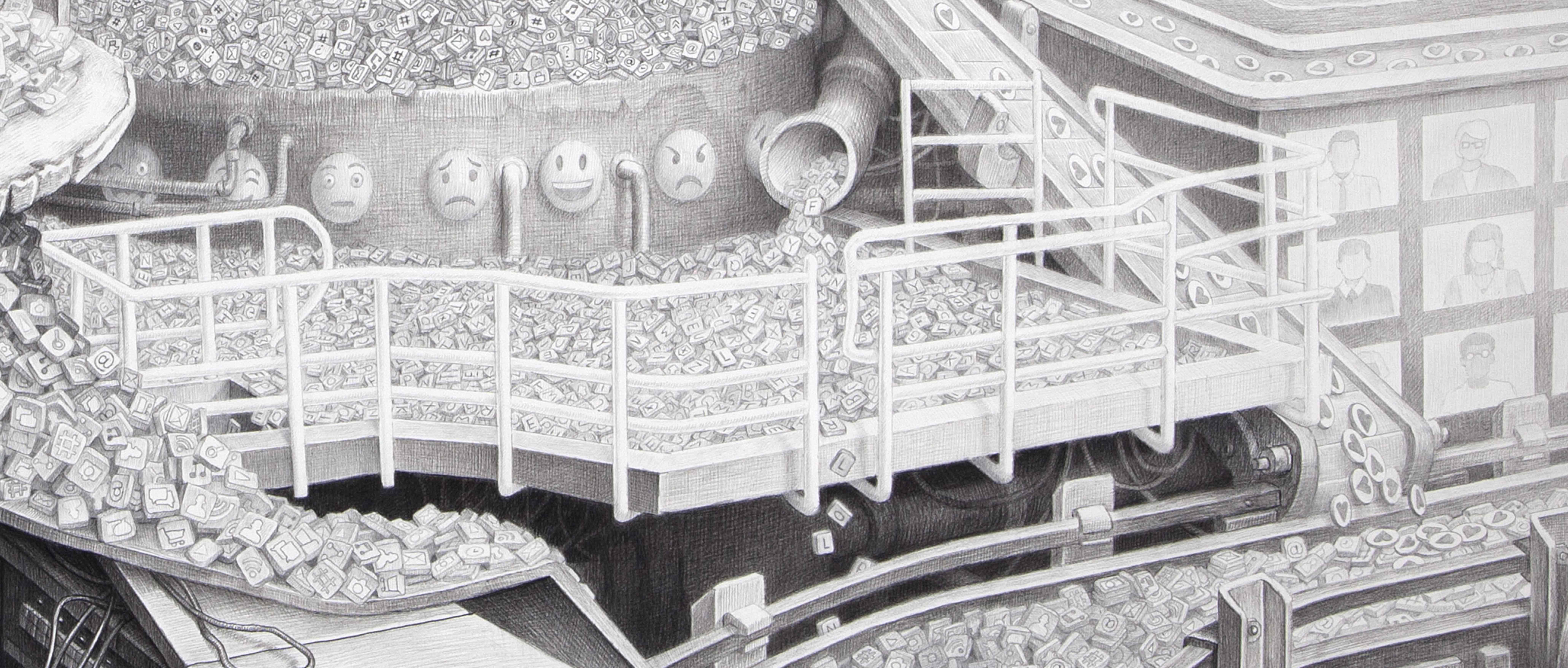 detail, newsfeed, technology, drawing, art, Laurie Lipton drawing
