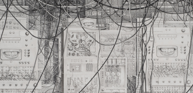 Laurie Lipton, pencil drawing, black & white, Network detail