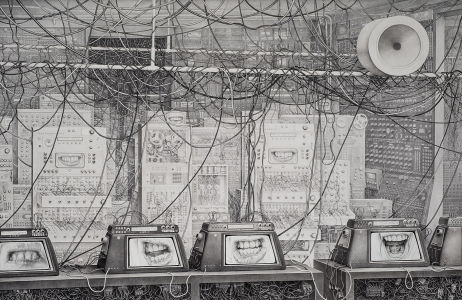 Laurie Lipton, drawing, black & white, pencil, Network