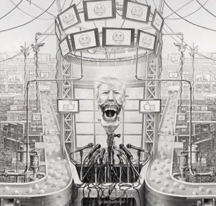 Trump, resist, media, post truth detail, Laurie Lipton drawing