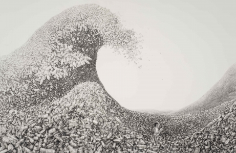 Laurie Lipton drawing, The Great Wave