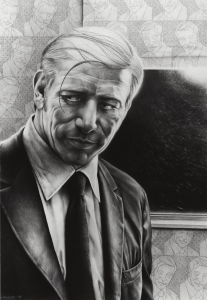 Laurie Lipton, pencil drawing, black & white, Portrait of My Father