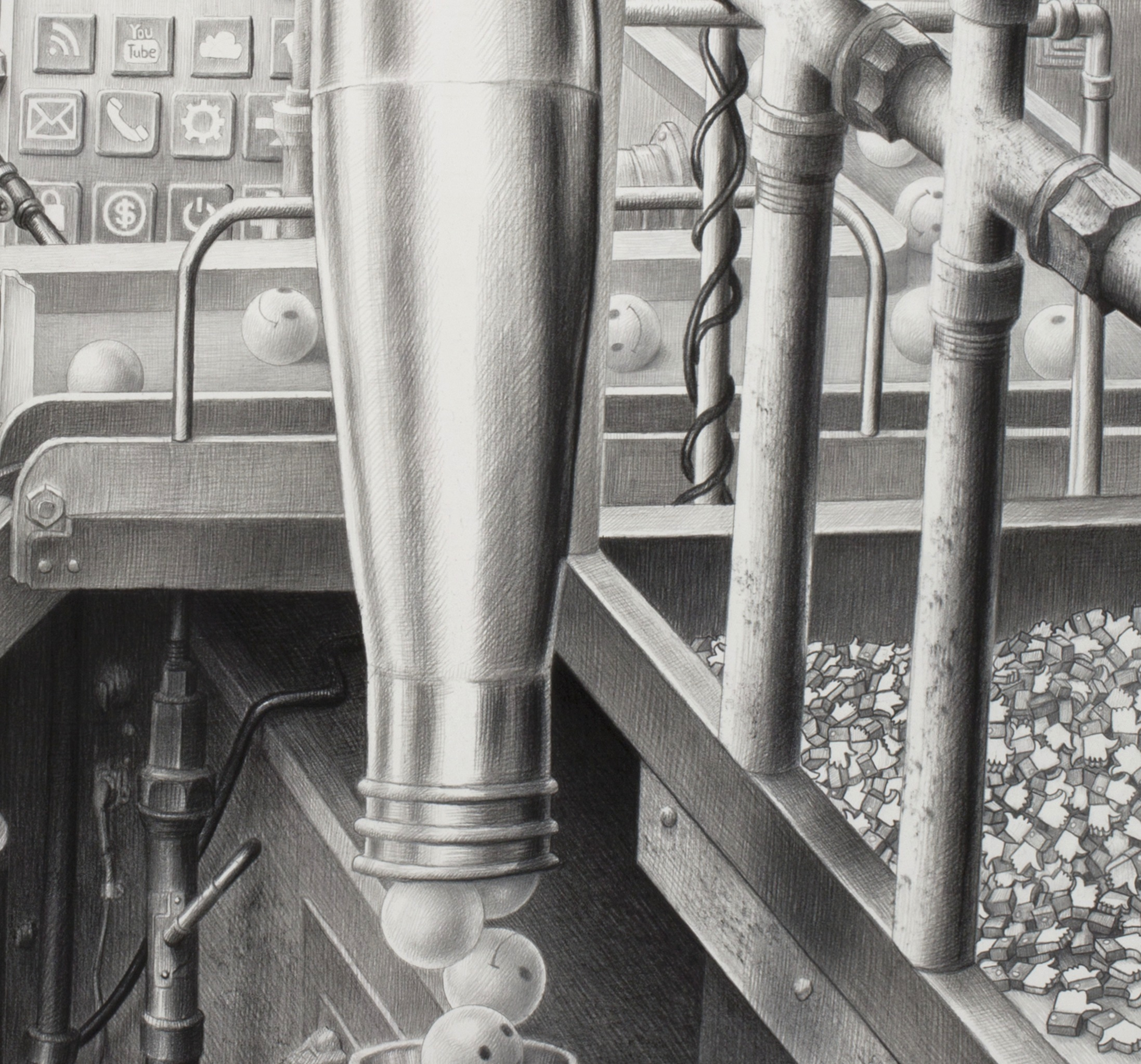 Trump, resist, media, post truth detail, Laurie Lipton drawing