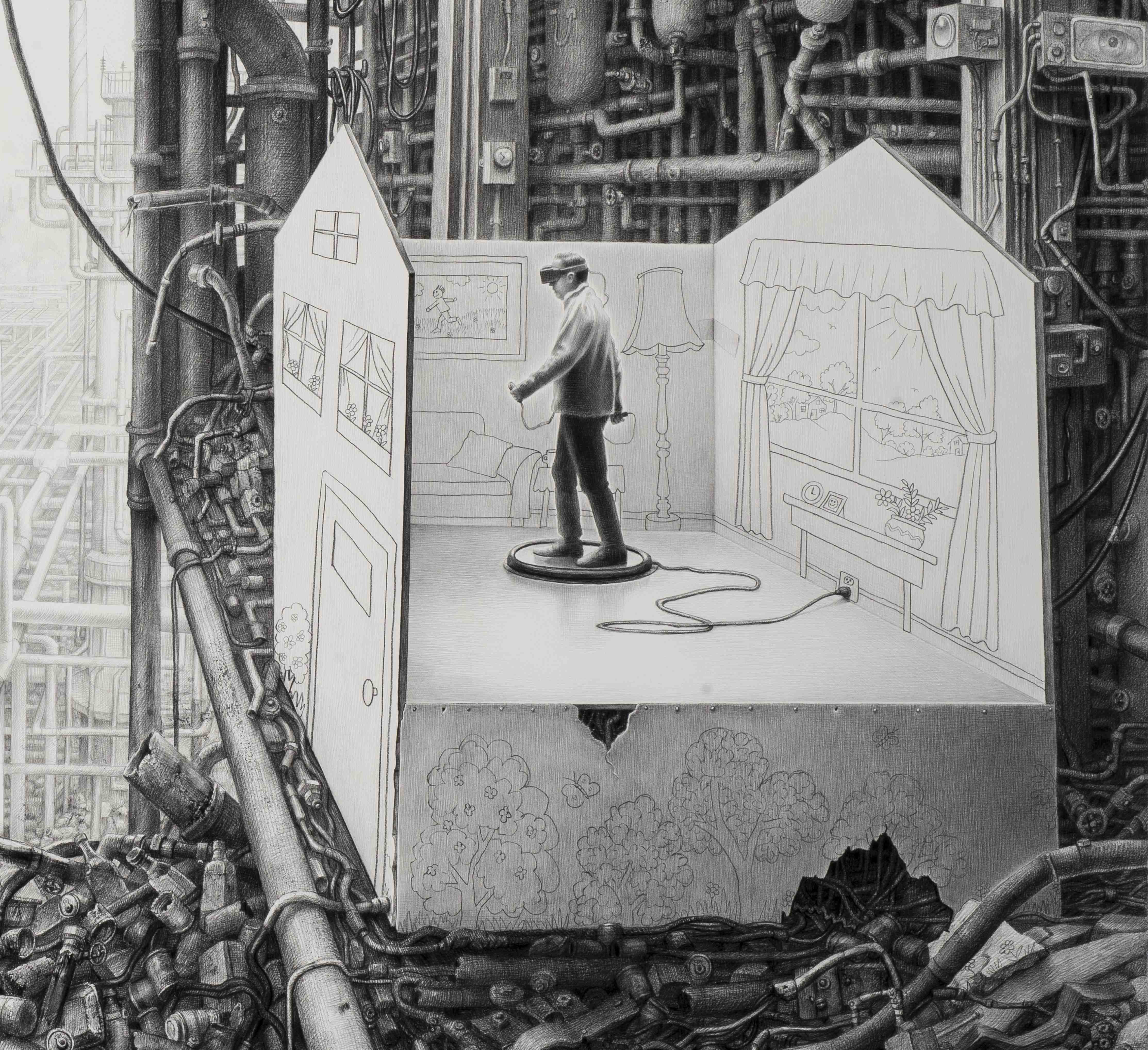 Laurie Lipton drawing, Virtual Reality detail