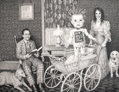 PORTRAITS OF A FAMILY & THEIR DOGS SUPERIMPOSED IN A LIPTON DRAWING